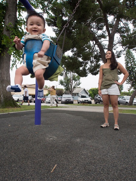 Noah's first time on a swing