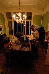 The night before, packing and testing the equipment needed for the trip.