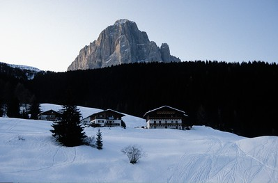 Val Gardena. The right most chalet is where we staid.