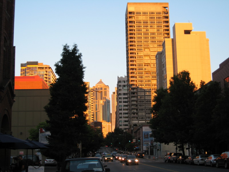 Downtown Seattle at 9:00 PM on the 21st of July.