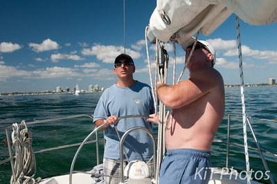 First Mate Bob takes over the control as Al sets the sails