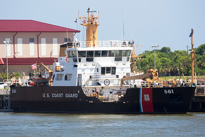 A Coast Guard ship is berthed nearby as we return to Galveston.
