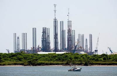 A forest of idle Jack-up Rigs tells us that the price of oil is low.
