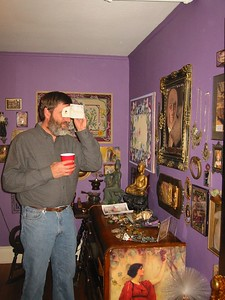 Ken looks at stereoscopic photo of Prague (we had travelled to prague with Sasha soem years ago).