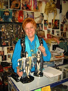 Here is Sasha in her store December 2003.   See her website Gypsy Heart, Northampton,MA..