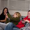 Girls talking on couch