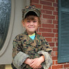 Dressed in Uncle Kyle's uniform.