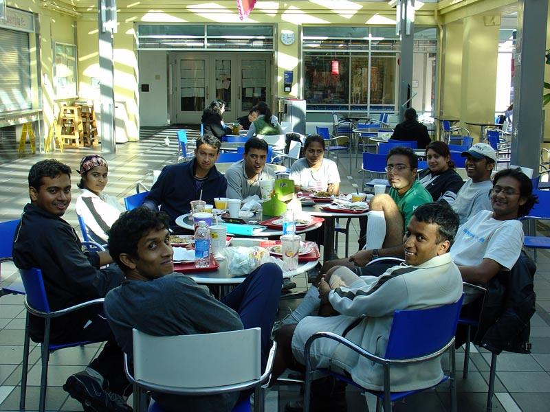 Lunch @ UCSF cafetaria.<br /> (anti-clockwise): Sudha, Milan, Seshu, Rachna, Pam, Badri, Amit, Prasanth, Navendu, Kiran & Kiran