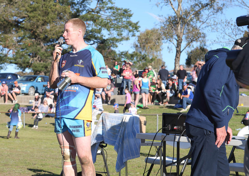 """Man of the Match"". Grand Finalist Scotty Naughton addresses the crowd after the Brahmans 32-6 victory over Harden's Hawks.."