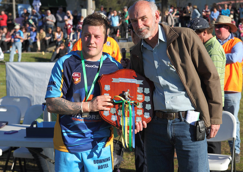Captain/Coach Chris Rawlinson with Mr. David Tooke, son of George Tooke after whom the Shield is named, Grand Final Day August 31 st. 2013.