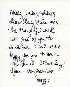 Note from Maggie Corbett Daley after Mayor Richard Daley passed.