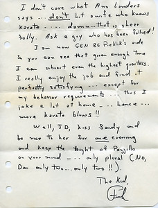 Letter from Frank Pezzillo in July, 1970.