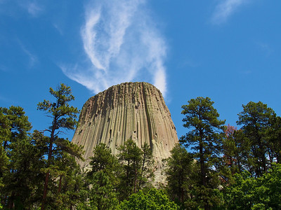 Devil's Tower with clouds
