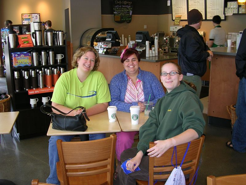 The Final Sunday Coffee of Spring Quarter with the Grad school gang:  From Left to right<br /> Heather Hartley, Michal Walden, and me