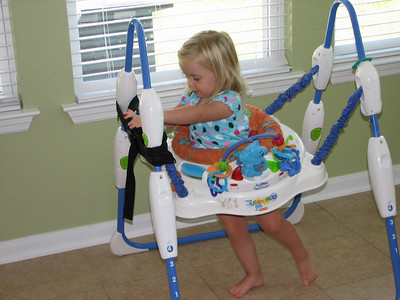 This Jumparoo belongs to Haylee.  Every time she comes over to our house she likes to get back in it and jump like crazy.