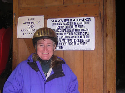 Susan all geared up and ready to ride