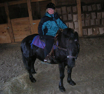 ... and Susan took this of me on Ruby, my 14 hand Percheron/Quarter horse. She really didn't seem as short as she looks in this photo!