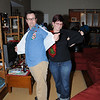 Thomas and Meg show off their Walnut Creek Goodwill finds.
