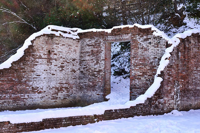 Snow on the ruins in Old Shasta.