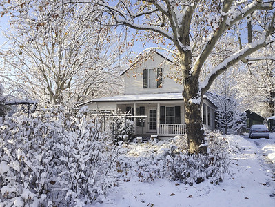 Our house, Saturday Dec. 7th.  We usually don't get snow like this - it was light and fluffy, not the usual cement-like snow.