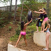 they girls were waaaaay more daring than the guys on the tire swing!