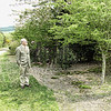 This was the same gravel driveway, in April 2007.<br /> Uncle George is proudly inspecting a May tree. <br /> The workman's gate is behind the photographer, the tool shed is at the bottom of the drive.
