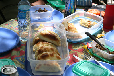 Lower Chimehuin Day 2-3- Empanada delights and eggplant salad to die for.