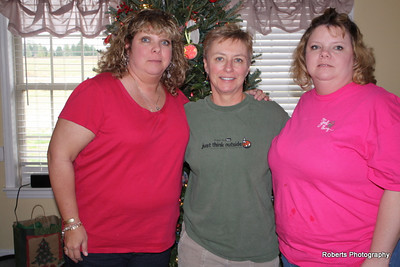 My Aunt Shearon, my sister Harriett and me at Christmas