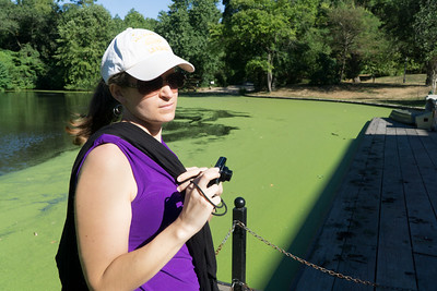 Crystal at the Serpentine, a pond in front of the Boathouse. The green is the algae floating on the water.
