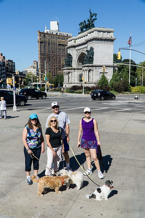 Standing in front of the Central Library. Grand Army Plaza is in the background.
