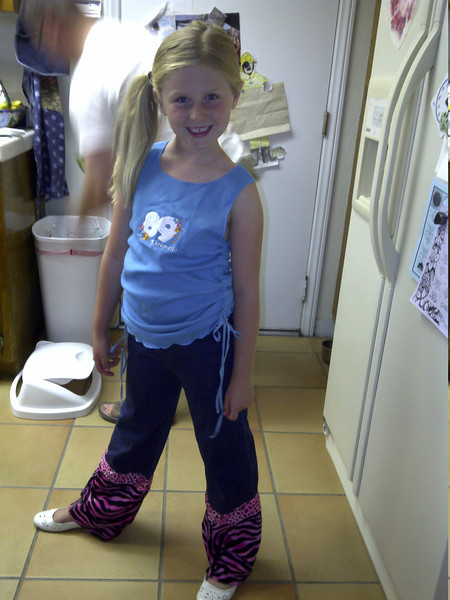 Charlie in her Zumba outfit.