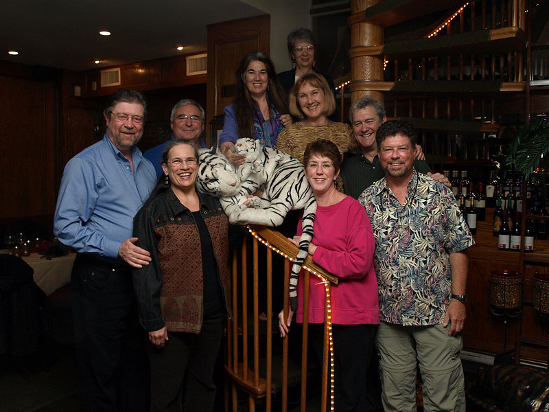 """Clockwise from left: Tim Brown, Andy Campbell, Kitty Thuermer, Tina Thuermer, Ellen Turner, Robin Murphy, Paul Reiger, Annie Reiger, White Tigers, Marsha Bushnell. See <A HREF=""""http://picasaweb.google.com/pjrieger/DelhiWallahsWhiteTigerDC#"""">more photos</A> by Paul Reiger."""