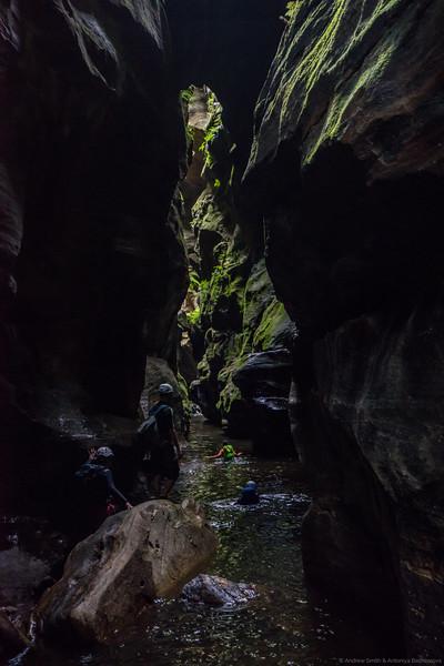 Swimming through Rocky Creek Canyon.