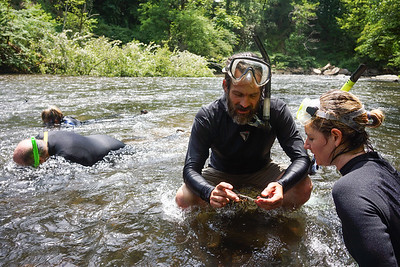 Snorkeling the Oconaluftee River on the Eastern Band of Cherokee Indians reservation.