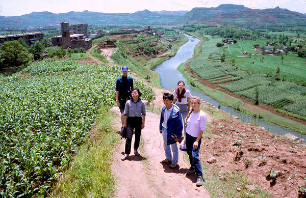 (photo by Rob) Chris and Kathryn Wilde with Sam Wong, Xiao Wen & me, on a path in Nanchong