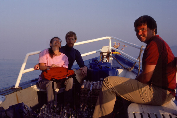 Rob and the Wildes on a boat leaving the islands