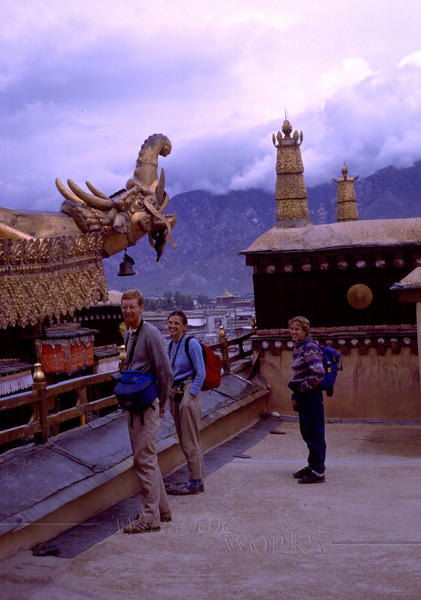 (photo by Rob) Chris & Kathryn Wilde and Anna Lisa on roof of Jokhang; Lhasa, Tibet