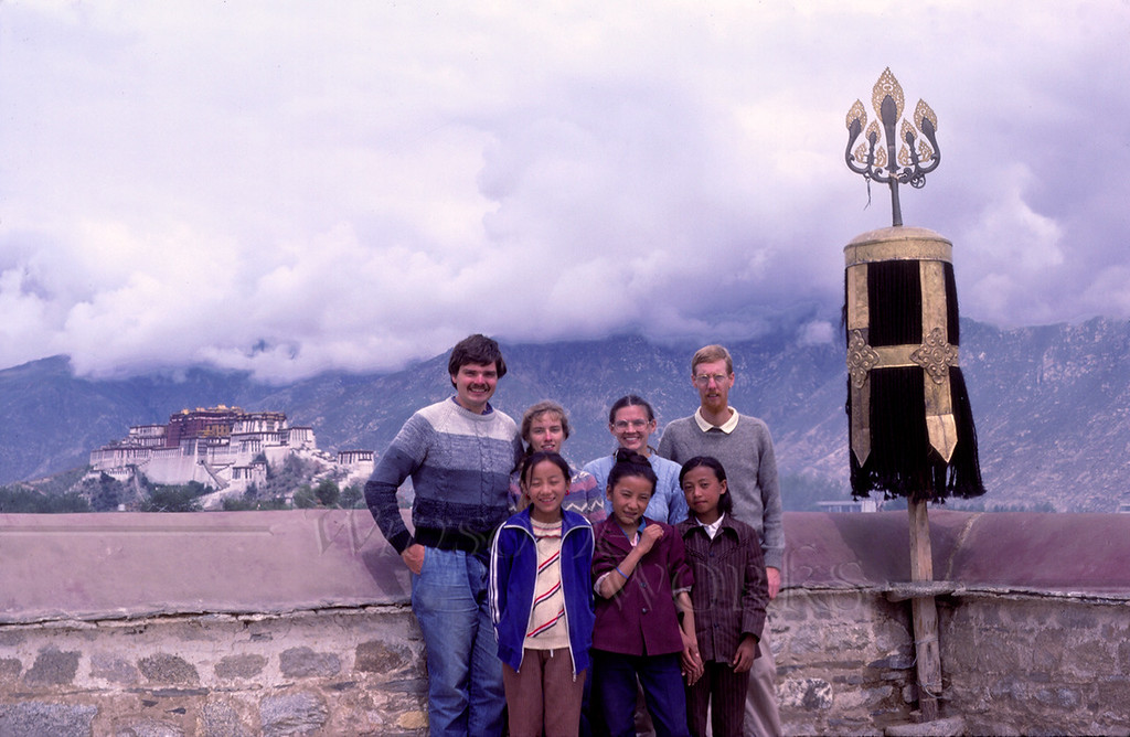 Rob & Anna Lisa, Chris & Kathryn on roof of Jokhang, Lhasa, Tibet (Potala in background)