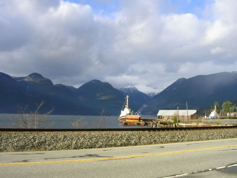 A nifty boat on the Sea to Sky Highway  on the way to get the perfect tree.