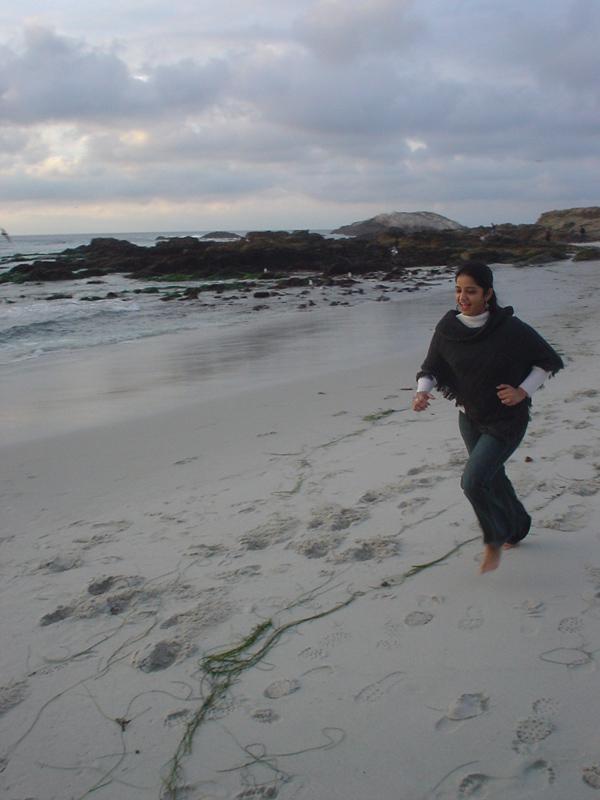 shweta having fun doing the long jump