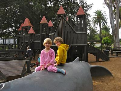 Erin & Hunter at Kids World (Santa Barbara) at Christmas time (2009)