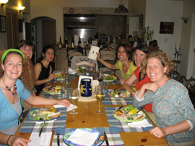 "Z Book Club (June 2008): On the left: Marjon, Kryss, Tina On the right: Antara, Kristin and Claudia holding our book ""Deep Economy"""