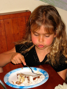 Jane is enjoying the banana pudding cake.
