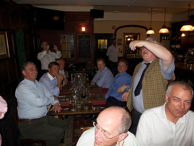 Ullathorne 72-74 reunion 12 Jul 12. Behind, l – r: Anthony Carvell, Charlie Russell, Tony Kennedy (standing), Ed Knox, Jeremy Carvell, Guy Wrench, Brian Burke (standing).