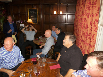 Ullathorne 72-74 reunion 12 Jul 12. L – r: Bill Kirkham, Peter de Loriol (blue shirt), Guy Giraudeau (face obscured), Chris Rogal, Mark Canning, Martin Kochanski, Jeremy Wilkinson, Nick Rea (nearest camera).