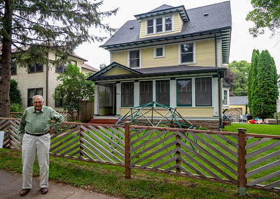 Harry Carlson in front of his 2nd St. Paul home