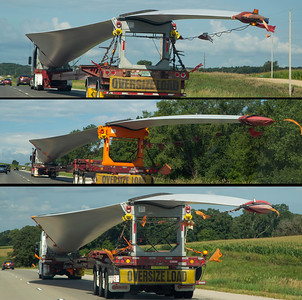 en route to St. Paul.  Three blades of a new wind turbine.