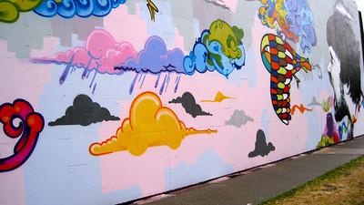 Temporary art mural.