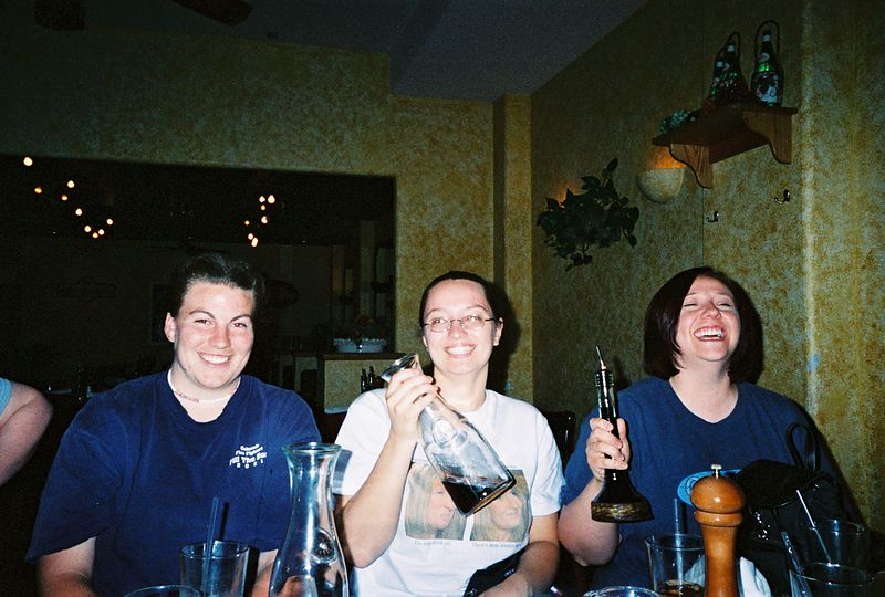 At Tucci's, Marla, Ree, and Krista swig some, errr, oil and vinegar.
