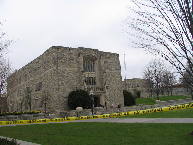 Norris Hall surrounded by crime scene tape.